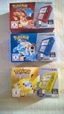 Nintendo 2DS Pokemon consoles - Yellow Pikachu + Red + Blue