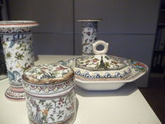 Two vases, a lidded bowl and a lidded pot - Portuguese earthenware (4 x)