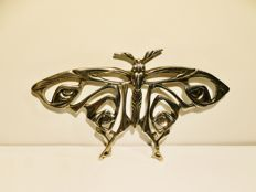 Vintage 1920 Art Deco collectible large silver butterfly brooch, silver 925/1000, weight 19 gr