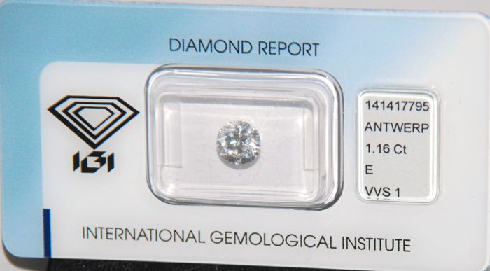 Brilliant-cut natural diamond - 1.16 ct - VVS1/E