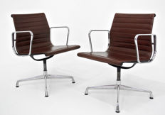 Charles & Ray Eames for Vitra - pair of vintage EA108 chairs with rotating leather seat
