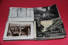 Lot of 400 + postcards from Europe, b/w only, 1940s/50s size 10x15 including 100 Italian postcards