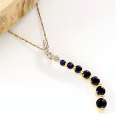 14kt Yellow Gold 0.75 ct Sapphire, 0.06 ct Diamond Pendant Necklace - 45 cm - *no reserve*