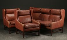 Danish architectural three-seater sofa with two armchairs