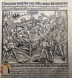 Livius Livy - 2 large post incunabula soodcuts on recto and veros of one leaf - Albania and Rome at War / Hartaius III murders his sister - 1505