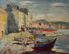 Jean Coti. (20th century-) A French harbour scene.