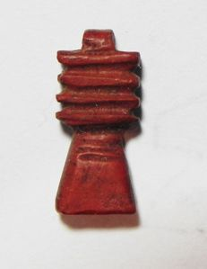 Ancient Egypt Red Jasper Djed Pillar Amulet, holed for suspension - 13 x 5 mm