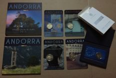 Andorra - Year sets 2015 and 2016 + 5 x 2 Euros in coincard or cassette 2014/2015/2016