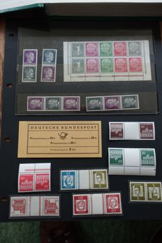 Germany 1940/1990 - Collection of combined prints (including sheet edges), stamp booklets, combinations and batch of blocks in album