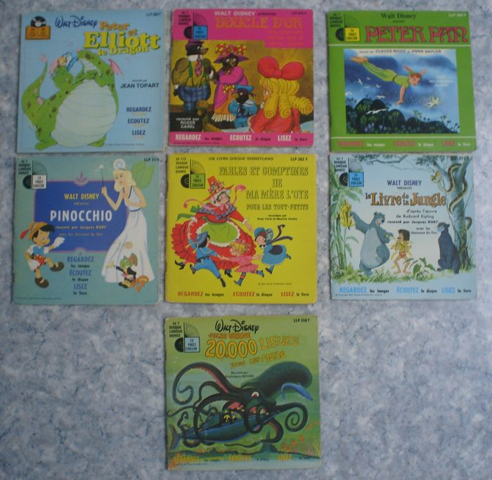Walt Disney - 7 books with discs - Peter Pan + Pinocchio + Peter et Elliot le Dragon (1968/1978)