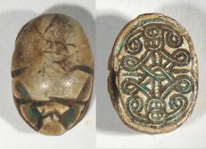 Egyptian Glazed steatite scarab. 17mm