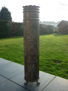 Casing (shell) - modified in umbrella stand - trench art - WWI