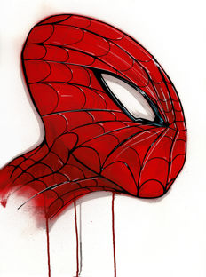 Original Acrylic Painting - Spiderman By Street Artist ANTISTATIK
