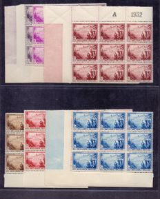 Belgium 1932 - Sanatorium 'De Dennen' 6 values in block of 9 with side panels - OBP 356/361