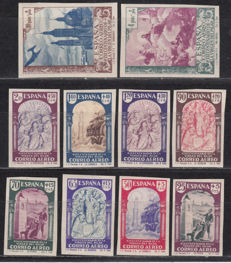 Spain 1940 - 19th centenary of the Virgin of Pilar air mail Imperforated - Edifil 904s/913s