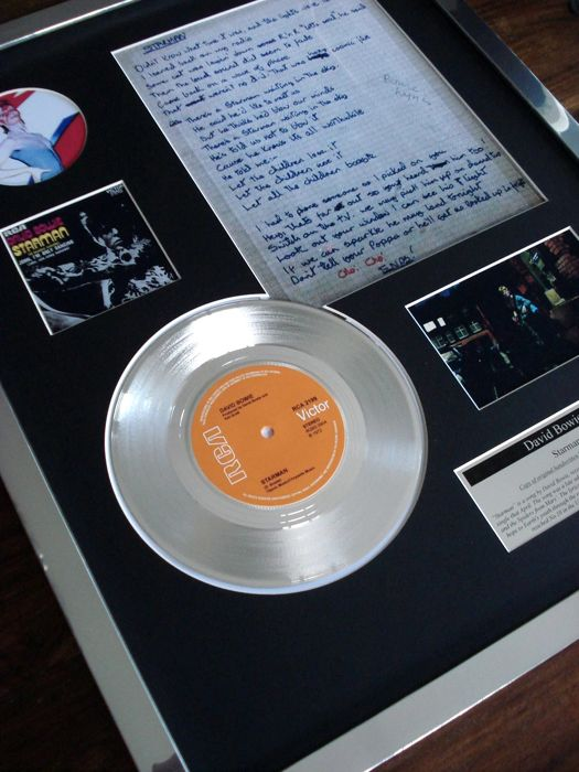 "David Bowie Starman platinum disc 7"" single & handwritten lyrics framed display"