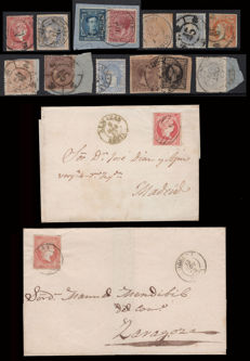 Spain 1855/1886 - Lot of 11 stamps and 30 items of Soria postal history