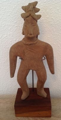Pre-Columbian Colima cone head figure - Mexico - 18 cm