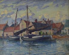 French school (20th century) - A harbour scene with workboats