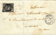 France 1850 - Black on white 20 centimes on letter with red cursive signed Baudot - Yvert 3
