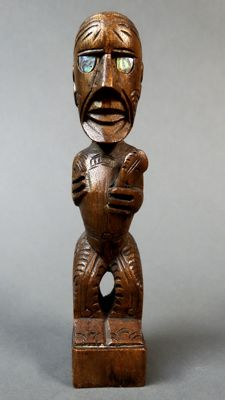Tiki warrior figure with club - MAORI - New Zealand