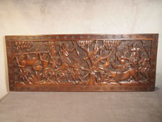 Mural carved in wood - BAMUM - Cameroon
