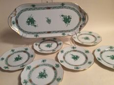 Herend - Bouquet green cake dish - 6 cake plates - Apponyi decoration