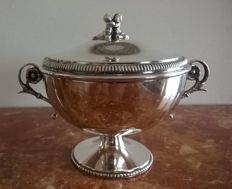 Elegant 800 Silver Sugar Bowl with Lid, Italy, first half 20th century