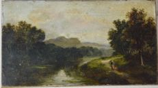 A Richards (19th century) - A figure on a riverbank