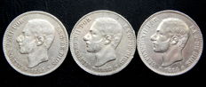 Spain - Alfonso XII - 5 pesetas, year 1882 *18-82 + 1883 *18-8 + 1884 *18-84 - 3 coins - Silver.