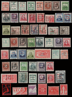Spain 1936/39 - Lot of Civil War with 105 stamps and 12 sheet blocks.