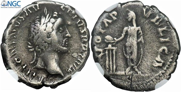 "Roman Empire - Antoninus Pius AR Denarius ""Vota Pvblica"" (18mm; 2.94g) - Barbarous Issue or Hybride / UNIQUE"
