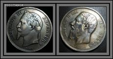 Belgium and France - 1873, 5 Francs + 1868, 5 Francs  - Silver