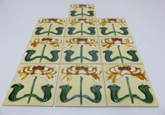 Producer unknown - 10 ceramic tiles in floral 'Art Nouveau' style, with a floral pattern depicting a Gerbera