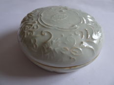 A Chinese Qingbai glazed  medicine/cosmetic box with rich flower and phoenix decoration - 107 mm x 43 mm