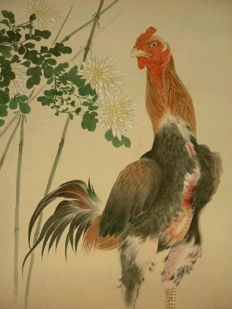 Gamecock, scroll painting in water colours on silk - Japan - 1st half 20th century