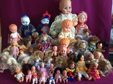 Collection of 50 old and less old dolls