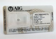 0.70 carat , F color, VS1 clarity ,  UNTREATED ,Comes in Sealed AIG Certificate.