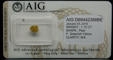 1.10ct. Certified Natural Fancy Greenish Yellow Diamond  - NO RESERVE