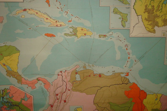 Authentic School Map Of The Caribbean Suriname And Dutch Antilles - Authentic world map