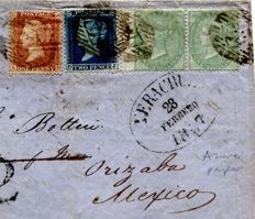 Great Britain Queen Victoria 1857 - 1s green on azure paper pair on Transatlantic cover