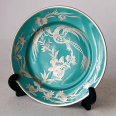 Rosenthal Bahnhof Selb - porcelain plate with silver inlay Phoenix bird and flowers