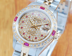 Rolex 18K Gold Ruby Diamonds DateJust Automatic Women's Watch!