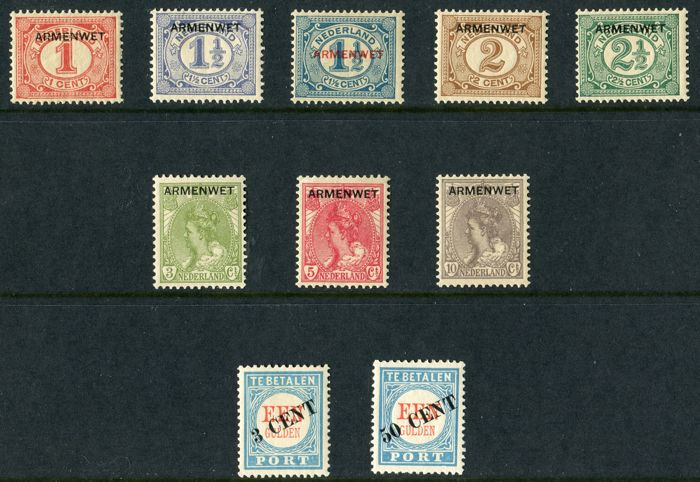 The Netherlands 1906/1913 – Service stamps and Postage due – NVPH D1/D8 + P27/P28