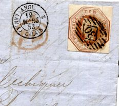 Great Britain 1853 - 10d Embossed cover to Paris - Stanley Gibbons 57