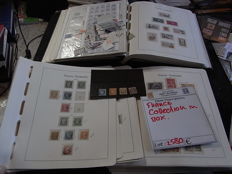 France 1860/1980 - Collection in box, with preprint album, pages, loose stamps and many more.