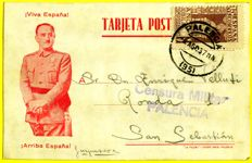 Spain 1937/1939 - Lot of 22 postcards with different markings of censure and battalion