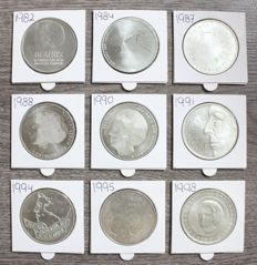 The Netherlands - 50 guilder coins 1982/1998 Beatrix (9 different coins), complete - silver