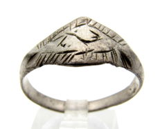 Early Medieval Silver Viking ring with Runic Script on bezel - 21 mm