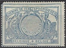 Belgium - Railway stamp OBP no. TR23 - Cu1 - 70c blue with white number on striped background in medallion - WITHOUT number